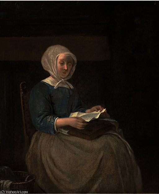 A lady seated in an interior reading a letter by Gabriel Metsu (1629-1667, Netherlands) | Museum Quality Reproductions | WahooArt.com