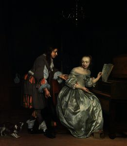 Gabriel Metsu - Interior with a Lady at a Spinet and a Gentleman Offering Her a Glass of Wine
