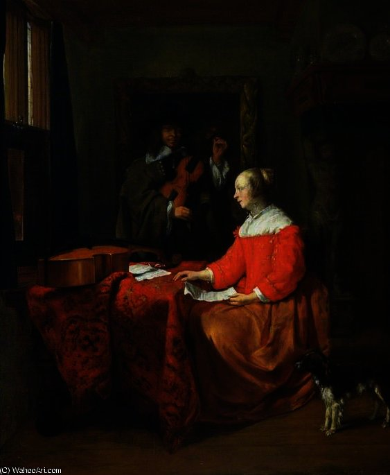 The music lesson by Gabriel Metsu (1629-1667, Netherlands) | Famous Paintings Reproductions | WahooArt.com