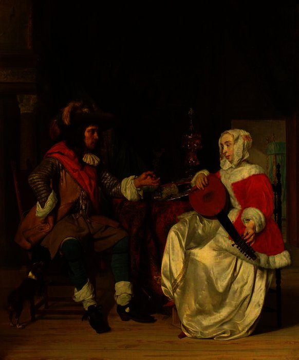 The Tête-à-Tête - A Lady Playing a Lute, and a Cavalier by Gabriel Metsu (1629-1667, Netherlands) | Art Reproduction | WahooArt.com
