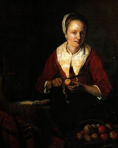 Gabriel Metsu - Woman peeling apples