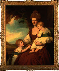 George Romney - Group portrait of mrs charles hawkins and her children