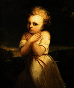 George Romney - Portrait of a girl, standing small three quarter length in a landscape, wearing a white dress, being frightened by the weather