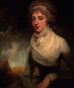 George Romney - Portrait of a lady in a white dress