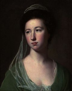 George Romney - Portrait of a lady traditionally identified as lady cicilia halliwell, bust-length, in a green dress and pale green veil