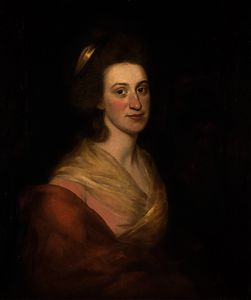George Romney - Portrait of a lady, bust-length, in a pink dress and red wrap