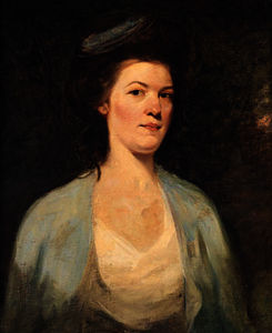 George Romney - Portrait of a lady, half-length, in a white and blue dress