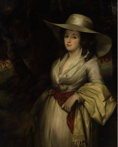George Romney - Portrait of a lady, three-quarter-length, in a white dress and straw hat
