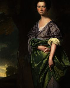George Romney - Portrait of mrs. james fletcher, three-quarter-length, in a lilac dress with a green wrap, in a wooded landscape