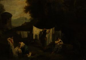George Romney - The Bleaching Grounds (Peasants Washing Linen)