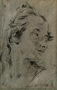 Giovanni Battista Tiepolo - The head of a young woman, turned to the right