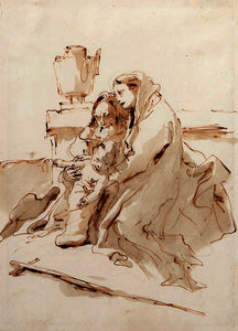 Giovanni Battista Tiepolo - The holy family resting by an urn