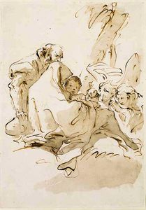 Giovanni Battista Tiepolo - The holy family resting with two angels kneeling and offering food