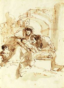 Giovanni Battista Tiepolo - The holy family with angels before an arch
