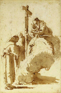 Giovanni Battista Tiepolo - The madonna and child adored by saint anthony and an abbot