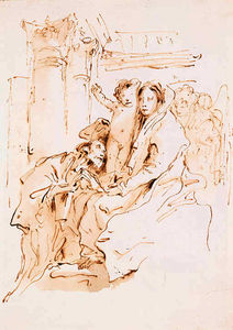 Giovanni Battista Tiepolo - The madonna and child and angels with a kneeling saint