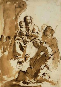 Giovanni Battista Tiepolo - The madonna and child with saint anthony of padua kneeling and two other saints