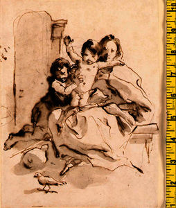 Giovanni Battista Tiepolo - The madonna and child with the infant baptist (recto);