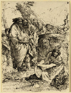 Giovanni Battista Tiepolo - Woman kneeling in front of magicians and other figures