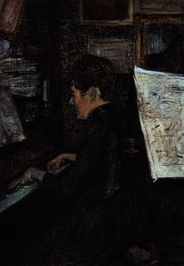 Henri De Toulouse Lautrec - The Dihau Young Lady to the Piano