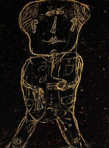 Jean Philippe Arthur Dubuffet - Monsieur Plume with Creases in his Trousers