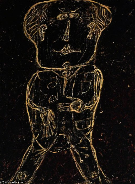 Monsieur Plume with Creases in his Trousers by Jean Philippe Arthur Dubuffet (1901-1985, France) |  | WahooArt.com