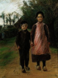 Max Liebermann - Boy and girl on the village road