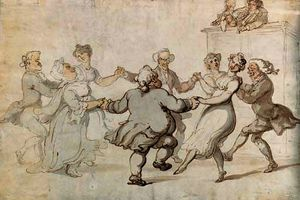 Thomas Rowlandson - Figures dancing with musicians looking on