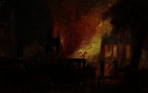 William James Muller - Bristol Riots - The Burning of Queen Square, The Custom House