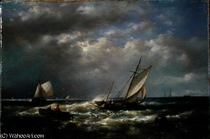Fishing Boats off the Coast by Abraham Hulk Senior (1813-1897, Netherlands) | Oil Painting | WahooArt.com