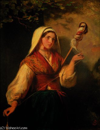 Young woman spinning wool by Abraham Solomon (1823-1862, United Kingdom)