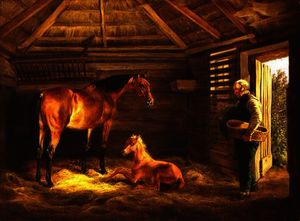 Adam Albrecht - English mare with her foals