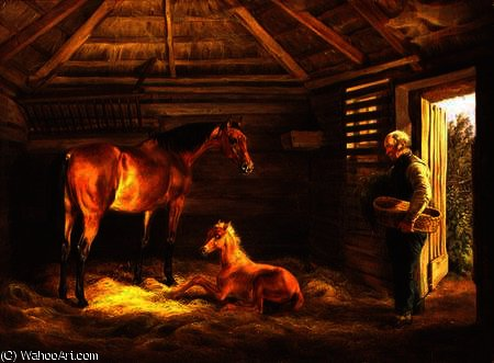 English mare with her foals by Adam Albrecht (1786-1862, Germany) | Oil Painting | WahooArt.com