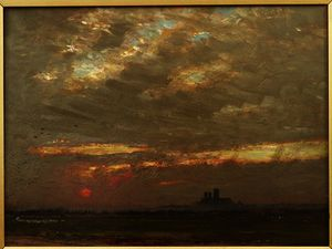Albert Goodwin - Lincoln Cathedral at Sunset