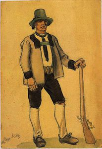 Albin Egger Lienz - Farmer in costume with support