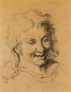 Albin Egger Lienz - Teenage curly head, laughing
