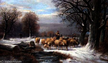 Order Museum Quality Reproductions : Shepherdess with her Flock in a Winter Landscape by Alexis De Leeuw (1848-1883, Belgium) | WahooArt.com