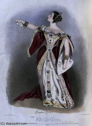 Giulia Grisi as Anna in 'Anna Bolena by Alfred Edward Chalon (1780-1860, Switzerland)