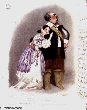 Giulia Grisi as Elvira and Luigi Lablache as Sir by Alfred Edward Chalon (1780-1860, Switzerland)