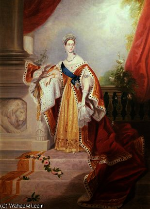 Portrait of Queen Victoria in Coronation Robes by Alfred Edward Chalon (1780-1860, Switzerland)