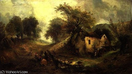 Children on a path by Alfred Montague (1832-1883, United Kingdom) | Art Reproductions Alfred Montague | WahooArt.com
