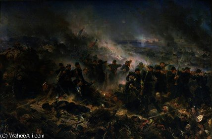 The Gervais Battery at the Siege of Sebastopol by Alphonse Marie Adolphe De Neuville (1836-1885, France) | Oil Painting | WahooArt.com