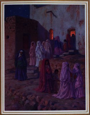 Order Art Reproductions | Muslims leaving the village mosque on the Eve of by Alphonse Etienne Dinet (Nasreddine Dinet) (1861-1929) | WahooArt.com