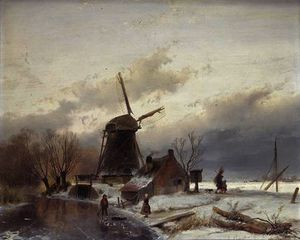 Andreas Schelfhout - A Frozen River Landscape with a Windmill