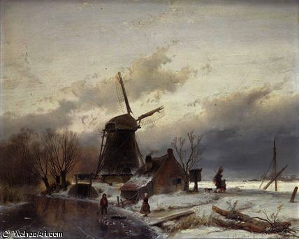 A Frozen River Landscape with a Windmill by Andreas Schelfhout (1787-1870, Netherlands)
