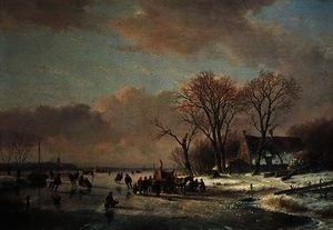 Winter river landscape with numerous skaters by Andreas Schelfhout  (buy Fine Art Art reproduction Andreas Schelfhout)