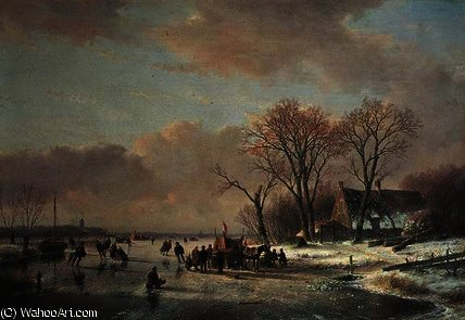 Winter river landscape with numerous skaters by Andreas Schelfhout (1787-1870, Netherlands)