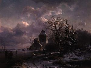 Andreas Schelfhout - Winter Scene, 19th century