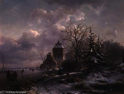 Order Art Reproductions | Winter Scene, 19th century by Andreas Schelfhout (1787-1870, Netherlands) | WahooArt.com