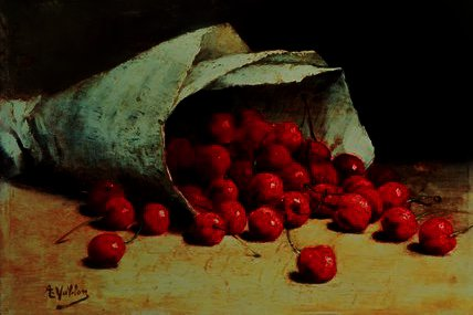 A spilled bag of cherries by Antoine Vollon  (order Fine Art painting copy Antoine Vollon)